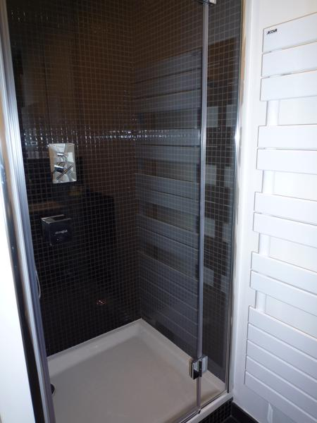 Standing shower with brown tiles and glass door