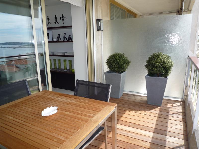 Plants on the wooden terrace with table and chairs