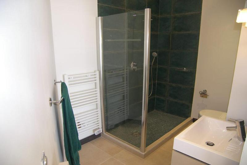 Green towel in a bathroom with standing shower and sink