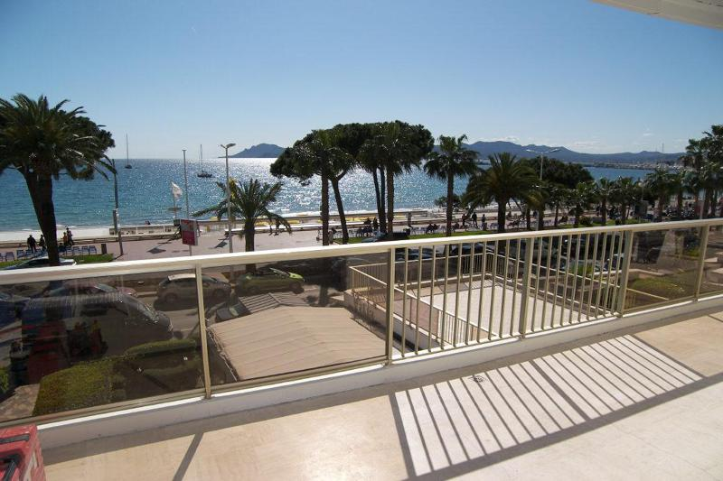 Beach view from the terrace of a sea facing group accommodation on Croisette in Cannes