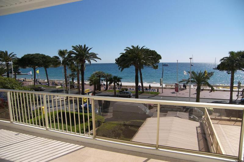 Sea views from the terrace of a beach apartment on Boulevard de la Croisette in Cannes