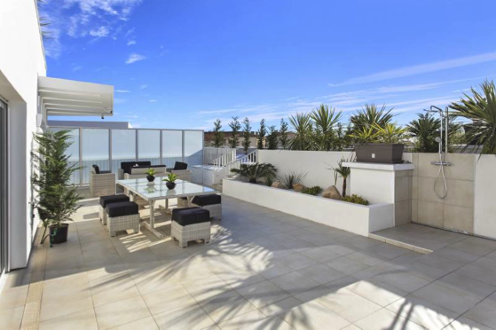 Rooftop terrace with plants and a relaxing area for sunbathing in a Cannes 4 bedroom accommodation
