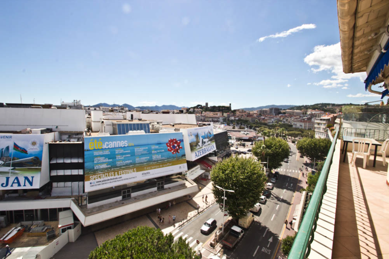 Views of Palais des Festivals from Cannes group apartment balcony