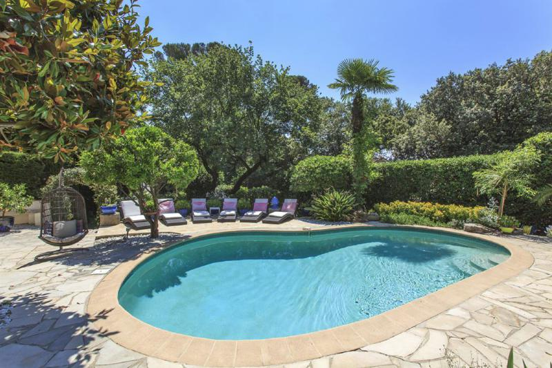 Kidney-shaped swimming pool surrounded by garden with trees and a swing in a Cannes group party villa