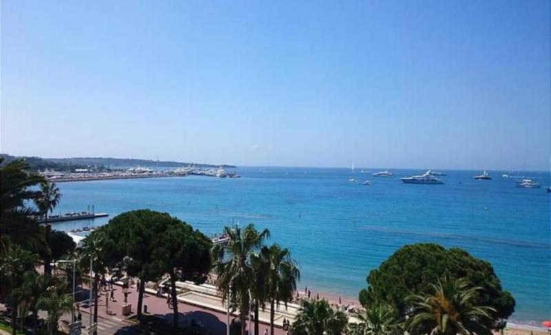 Sea view from the terrace of a Cannes rental penthouse by the beach on the Croisette