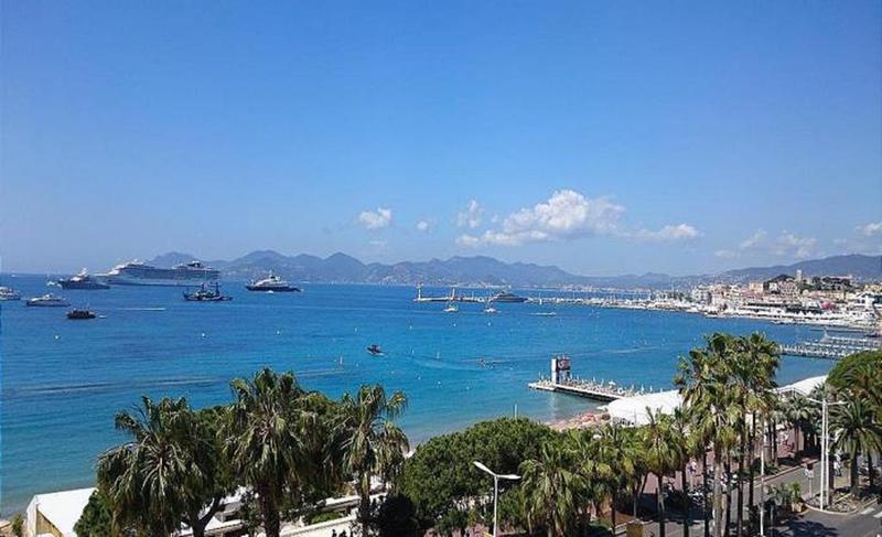 Boulevard de la Croisette and sea view from the terrace of a Cannes event penthouse near to Palais des Festivals