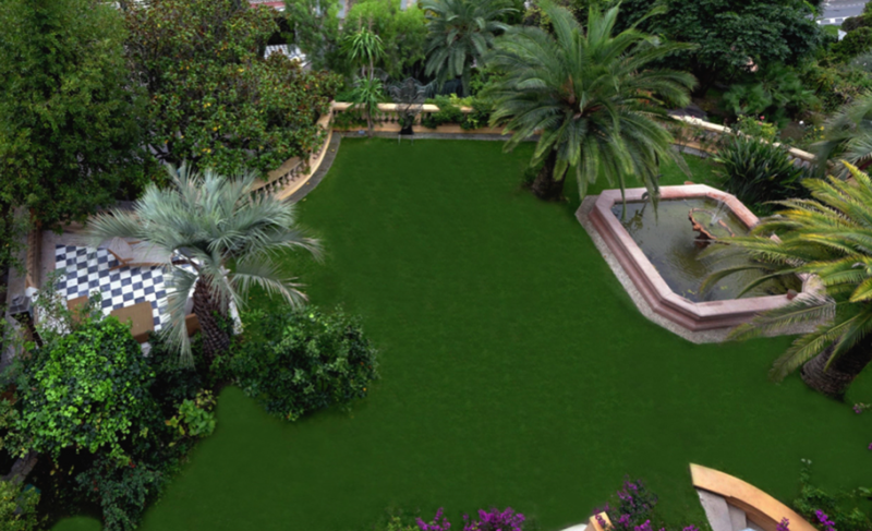 Top view of a garden with a fountain in the middle of a Cannes group rental villa