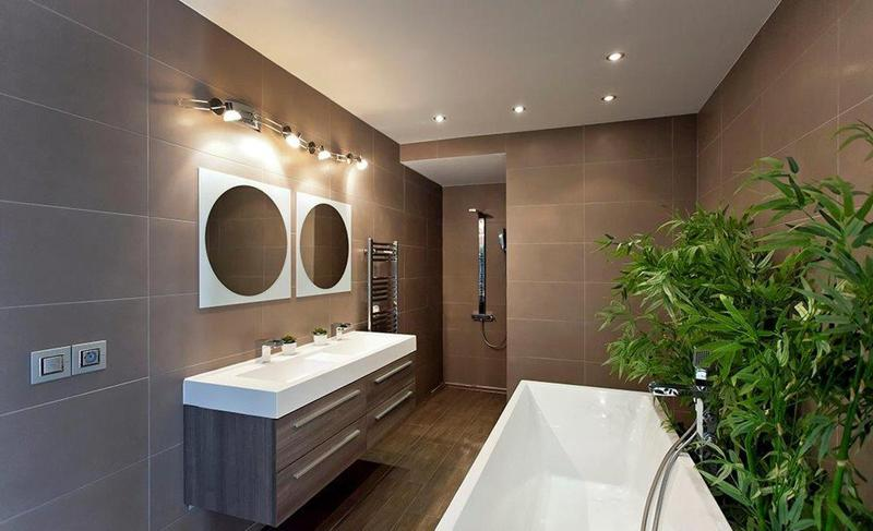 Brown tiles in a bathroom with bathtub and plants