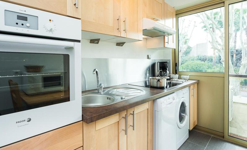 Oven, dishwasher, induction stove, silver tap and sink in a kitchen accessible from outside