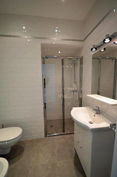 Bathroom with a glass-doored standing shower, a sink with mirror and toilet in Cannes