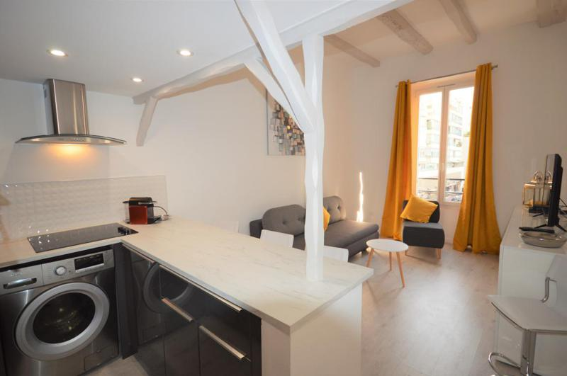 Washing machine installed in the open concept kitchen of a living room in a Cannes rental apartment