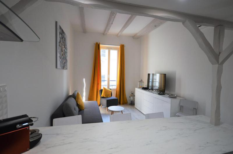 View of living room with sofa bed, a flat screen tv and a balcony from the open kitchen in Cannes
