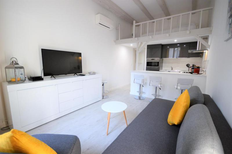 Living room with a sofa bed, a mezzanine double bed, a flat screen tv, air conditioner and an open concept kitchen