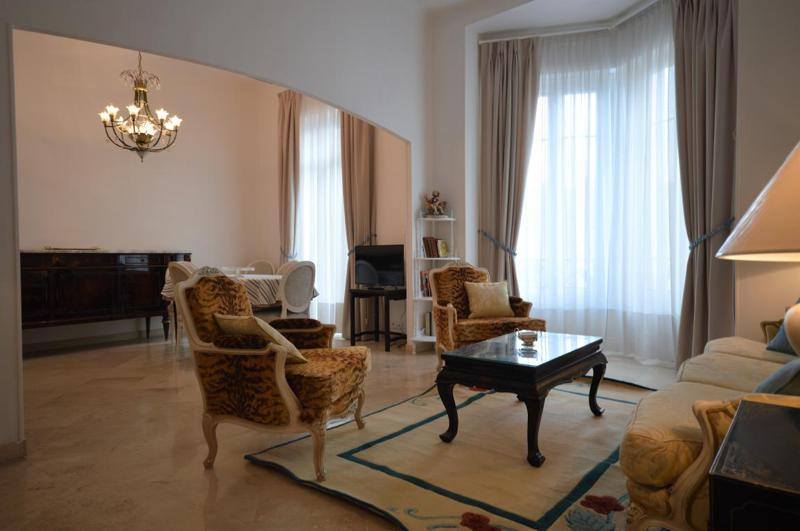 Furnished living room with sand coloured floor, large windows and leopard print sofa set in Cannes