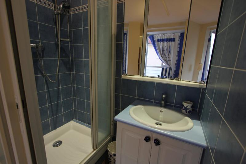 Standing shower, mirror and sink in a bathroom with blue tiles