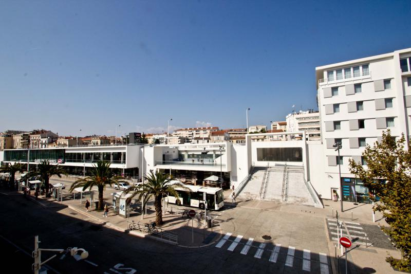 View of the railway station from a 2 bedroom Cannes group accommodation near to Gare and Palais des Festivals