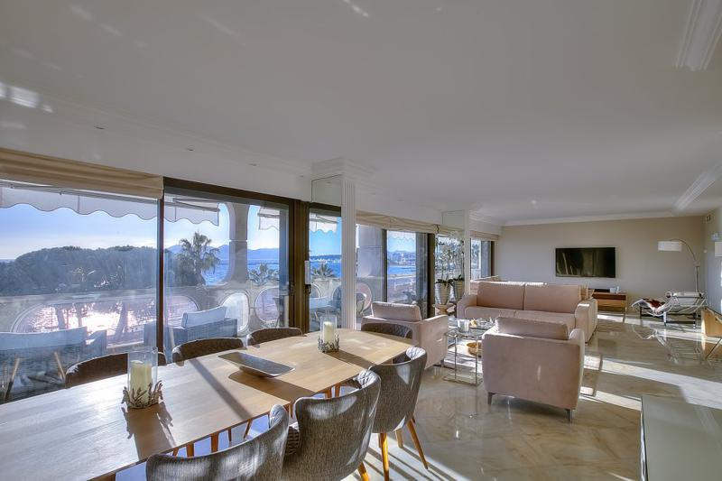 Living room of a seafront 2 bedroom Cannes rental apartment on the Croisette for the Lions, near to Palais des Festivals.