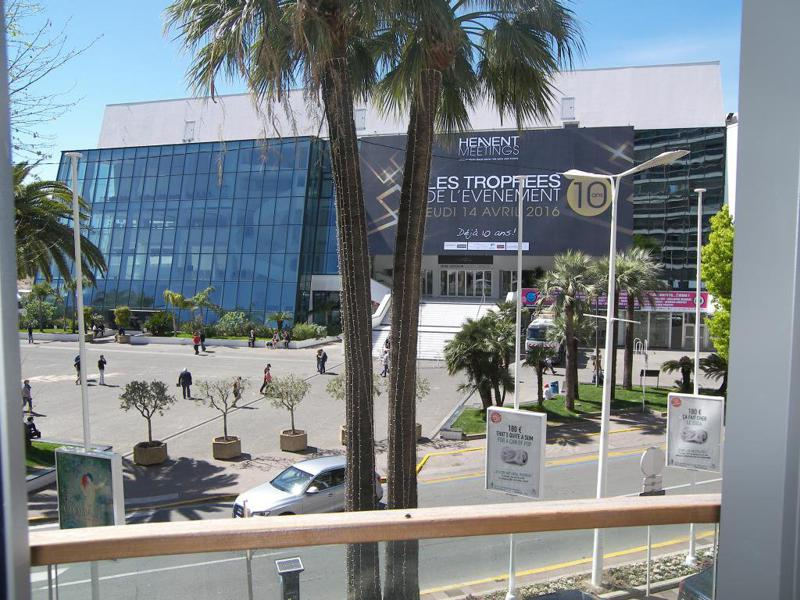 Views of Palais des Festivals from the terrace of a Cannes group accommodation