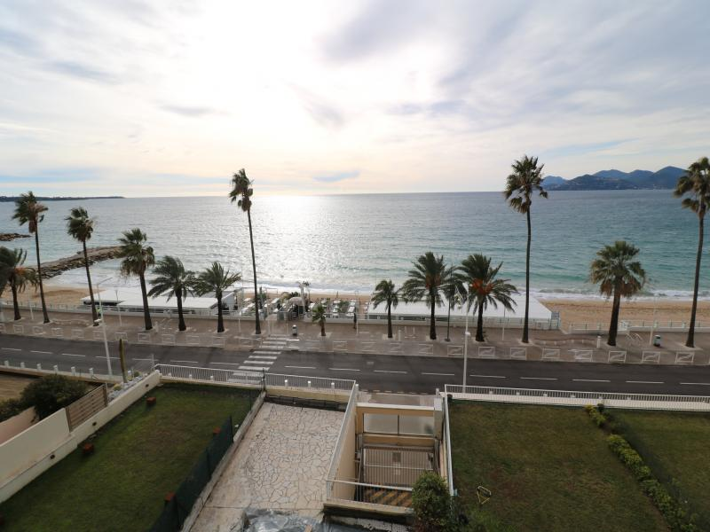 Sea views from the terrace of a 2 bedroom Cannes group accommodation by the beach and near to Palais des Festivals