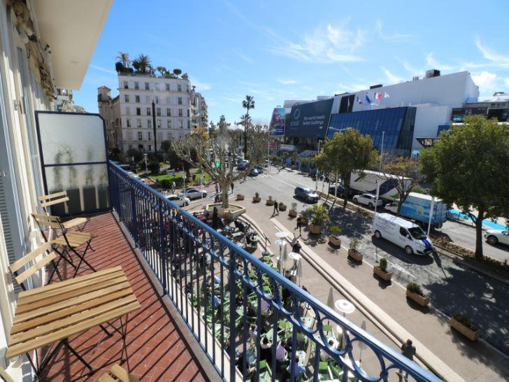 Views of Palais des Festival from the terrace of a Cannes 3 bedroom accommodation for rent across the street