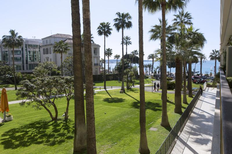 Views of garden with palm trees and sea from the terrace of a Cannes group apartment for rent by the beach