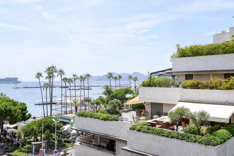 Views of Boulevard de La Croisette and the sea from the terrace of a Cannes waterfront group accommodation