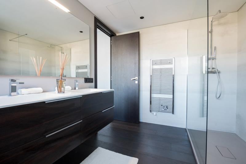 Glass-enclosed standing shower and dual sink with a mirror in the bathroom