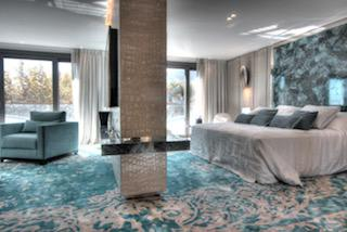 Double bedroom suite with office space in a Cannes group accommodation facing the conference centre on the Croisette.