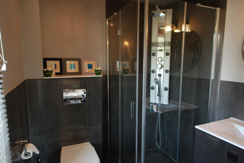 Glass-enclosed handsfree standing shower in the bathroom.