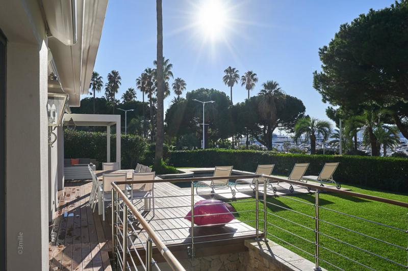 Cannes group villa with swimming pool and surrounded by palm trees and views of port and the Mediterranean sea