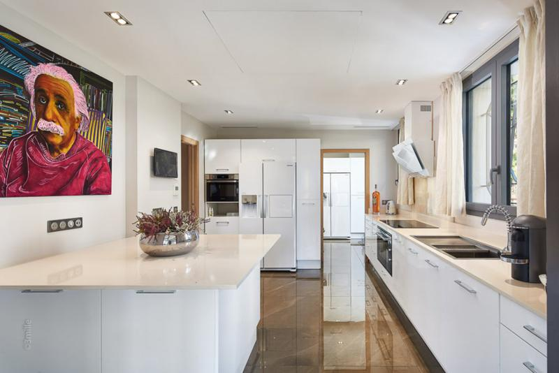Colourful painting of Einstein in a white marble kitchen of a Cannes group villa