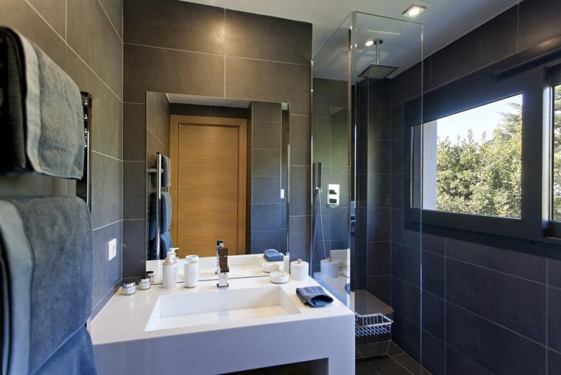 Black wall tiles in a bathroom with standing shower, a window and white sink